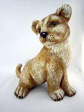 "Vintage 80s Lion Cub Ceramic Handmade USA Figurine Pup 7"" Signed Wild Animal"