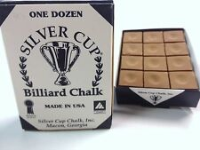 Quality USA Silver Cup Pool Snooker Billiard Cue Tip Table Chalk BROWN 12 Blocks