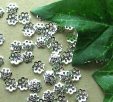 50 Perlkappen,Metall, silber, 6mm, Glatt, Perlen basteln