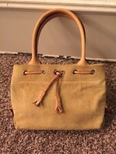 Dooney Bourke Mini Tassel Tote  Khaki Sued & Leather Handbag
