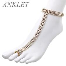 3 Line Clear Rhinestone Gold Tone Stretch Anklet Chain