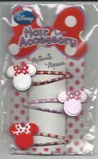 Disney Minnie Mouse Hair Accessories Pins Barrettes Head Logo
