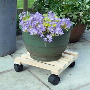 Wood Plant Pot Mover Trolley Wheels Planter Stand Holder Home Pot Garden Decor
