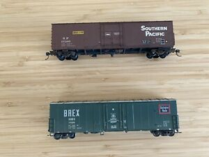 Athearn Two Box Cars. HO. Southern Pacific and Burlington Route