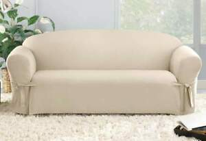 """SureFit Relaxed Fit Cotton Sailcloth Duck Sofa Slipcover, Natural, Fits 74""""-96"""""""