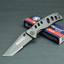 Smith & Wesson Extreme Ops 7Cr17 Part Serrated Tactical Knife Black CK10HBS