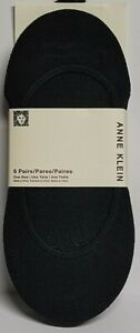 Women's Anne Klein 6 - Pack No Show Knitted Sock Liners, Black One Size