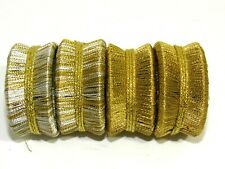 New listing Napkin Rings Set of 4 Silver & Gold-tone Thread Wrap Round Solid Stripe Holidays
