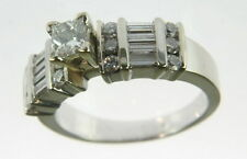 Ladies 14k White Gold 5/8 Cttw Princess Cut Wide Diamond Band Engagement Ring