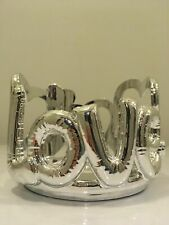 Bath and Body Works Love Heart Silver Balloons 3 Wick Candle Holder
