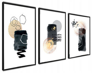 A4 Set of 3 Abstract Wall Art Prints Living Room Bedroom Unframed Black Gold