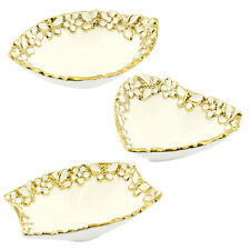 Gold Floral Butterfly Design Porcelain Dish Set of Three Assorted in Shapes