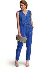 Cobalt Blue Sequin Embellished Evening Party Jumpsuit with Pockets Size 16