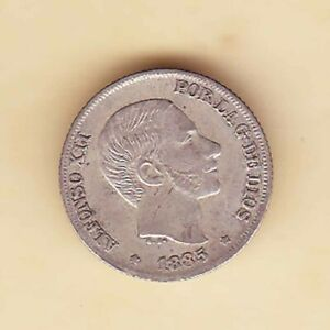 1885 SPAIN Philippines Alfonso XII 10 centimos de Peso , SILVER #2