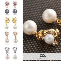 Perlen Ohrclips Fake Ohringe Pearl Perle Damen Clip On Non-Piercing vergoldet