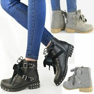 New Womens Ladies Studded Spike Ankle Boots Lace Up Punk Goth Low Heel Smart UK