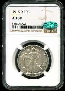 1916-D 50C Walking Liberty Half Dollar AU58 NGC CAC 2332904-006