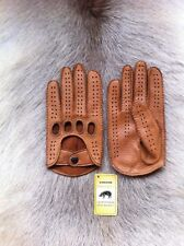 Peccary Driving Leather Gloves for men's Black Cognac Brown English Tan Navy