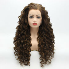 Meiyite Hair Curly Long 26inch Brown Blonde Mix Synthetic Lace Front Wig