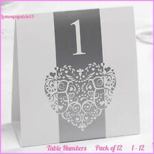White & Silver Vintage Romance Table Numbers Wedding - Heart Design - Free Stand