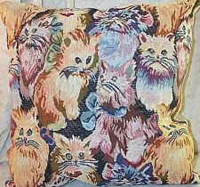 "Pillow Tapestry Cats 18 by 18"" inches Yellow Blue New"
