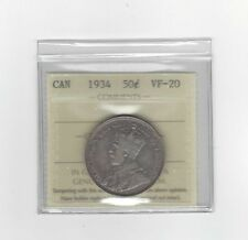 **1934**ICCS Graded Canadian Silver 50 Cent, **VF-20**