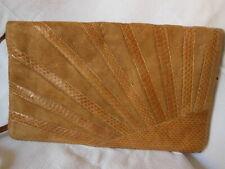 ancienne grande pochette vintage daim marron clair, cuir Sac à main