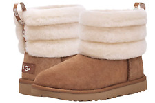 UGG Women's Classic Mini Fluff Quilted Boots 1098533 Chestnut Charc Sz 5-10 New