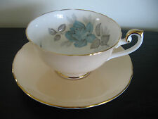 Shelley Peach Blue Rose China Cup & Saucer