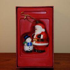 New Lenox Santa and Snowman Trinket Treasure Box Christmas Holiday Ornament