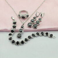 Black Sapphire 925 Silver Jewellery Sets Necklace Earrings Bracelet Ring Sz N/7