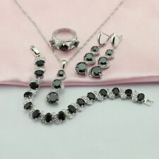 Black Sapphire 925 Silver Jewellery Sets Necklace Earrings Bracelet Ring Sz P/8