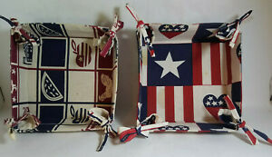 """Lot of 2 - Made in India - Fabric 8"""" X 8"""" Corner Tie Bread Baskets - PreOwned"""