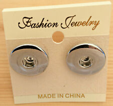 Snap Chunk Silver Stud Pierced  Earrings Fit Ginger Snaps Style Snap Buttons