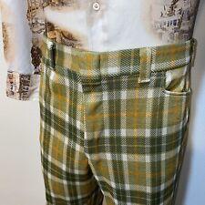 Vtg 60s 70s Days Mens 38 30 Green Plaid Polyester Leisure Suit Pants Flare Leg