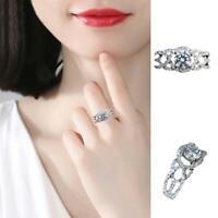 925 Silber Ring weißer Saphir Birthstone Engagement CZ Hochzeit Schmuck Sz 6-10