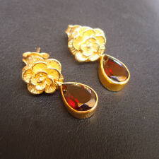Beautiful Gold Plated 925 Sterling Silver Garnet Earrings For Valentines Day
