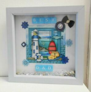 deep box picture frame gift for BEST DAD, boat, lighthouse, fish. christmas gift