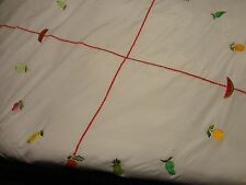 """TABLE CLOTH IVORY HEAVY EMBROIDERED POLYESTER ROUND TABLECLOTH LINEN 84"""""""