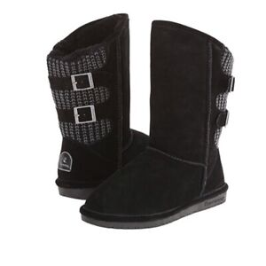 BEARPAW Women's Boshie Cold Weather Suede and Knit Buckled Boot Size 9 Black