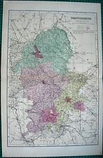 1884 LARGE ANTIQUE COUNTY MAP-BACON -STAFFORDSHIRE,TAMWORTH,ECCLESHALL,THEADLE