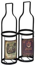 Vintage Effect Table Shelf Wine Label Sturdy Metal Wine Carrier 2 Bottle Holder