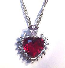 "PE 57 Red Ruby Heart Sim Diamond Silver White Gold gf Pendant +18"" Chain Plum UK"