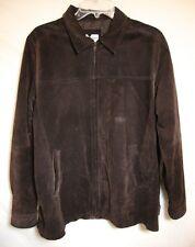 Bloomingdales Brown Suede Leather Jacket Car Coat Zip Up Lined Women Large NICE