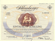 Österreich Wien Schlumberger AG Stammaktie 1000 Schilling 1986 dekorativ