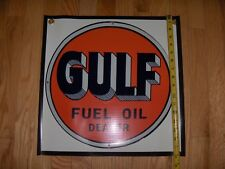 "GULF FUEL OIL GASOLINE 17"" VINYL GAS & OIL  Man Cave Banner Made in the USA NEW"