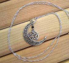 Filagree Moon & Pentacle Silver Protection Charm Silver Necklace Pagan Goddess!