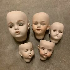 Vintage Bisque Doll Heads Lot #3 For Parts Or Repair