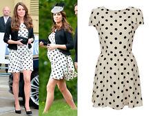 Kate Middleton The Duchess Of Cambridge Topshop Cream Polka Dot Dress 40 8 12 L