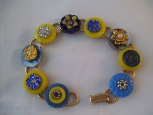 Stacked Vintage Button Bracelet Blue & Yellow Hand Made Wearable Art OOAK D